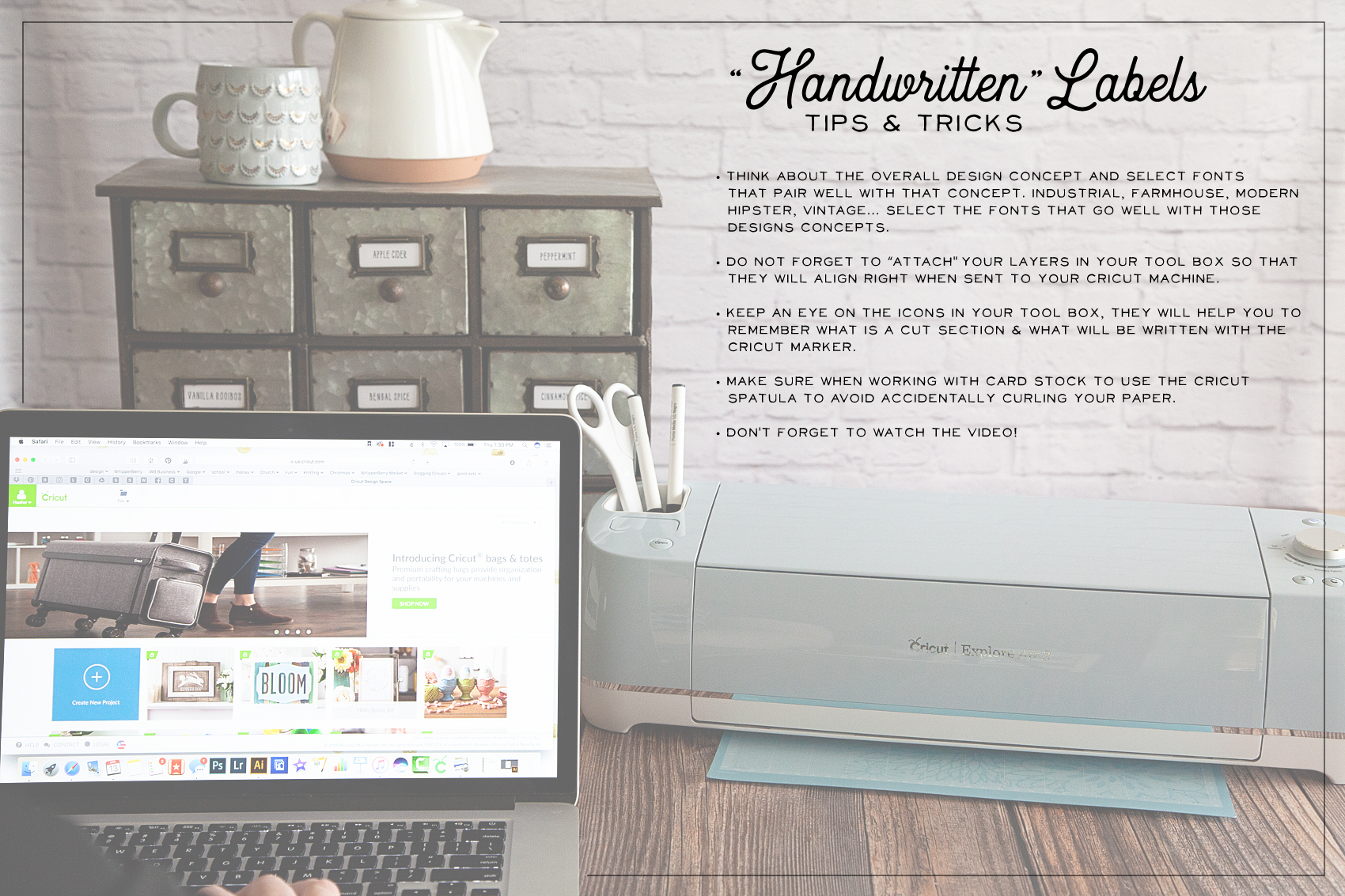 """Handwritten"" label by Cricut. Get that perfect look for your home weather it's; industrial labels, farmhouse labels or modern labels. You can achieve that perfect ""handwritten"" look even if you don't have great hand writing with the Cricut using your favorite handwritten fonts."