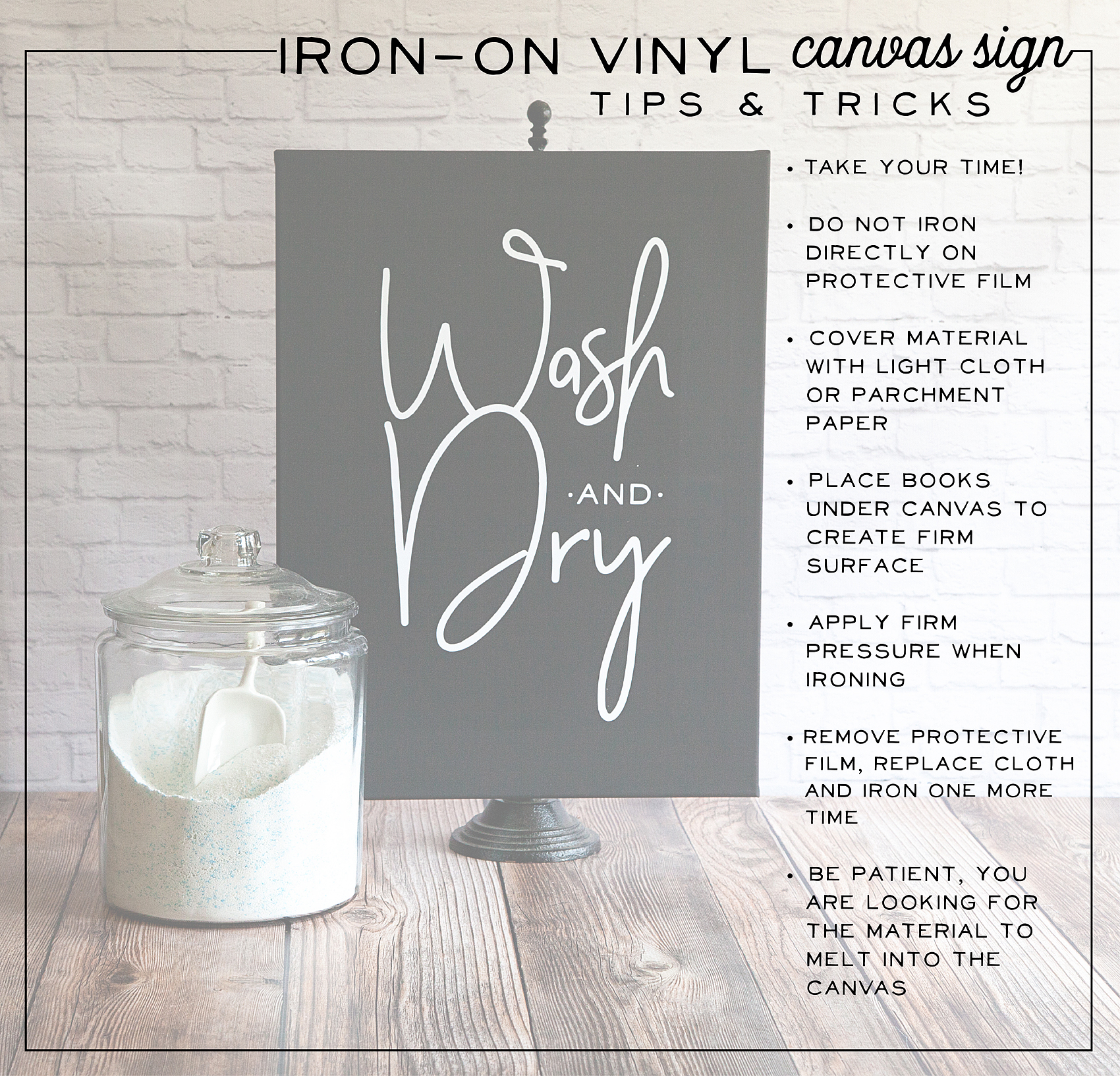 Wash And Dry Sign Iron On Vinyl On Black Canvas