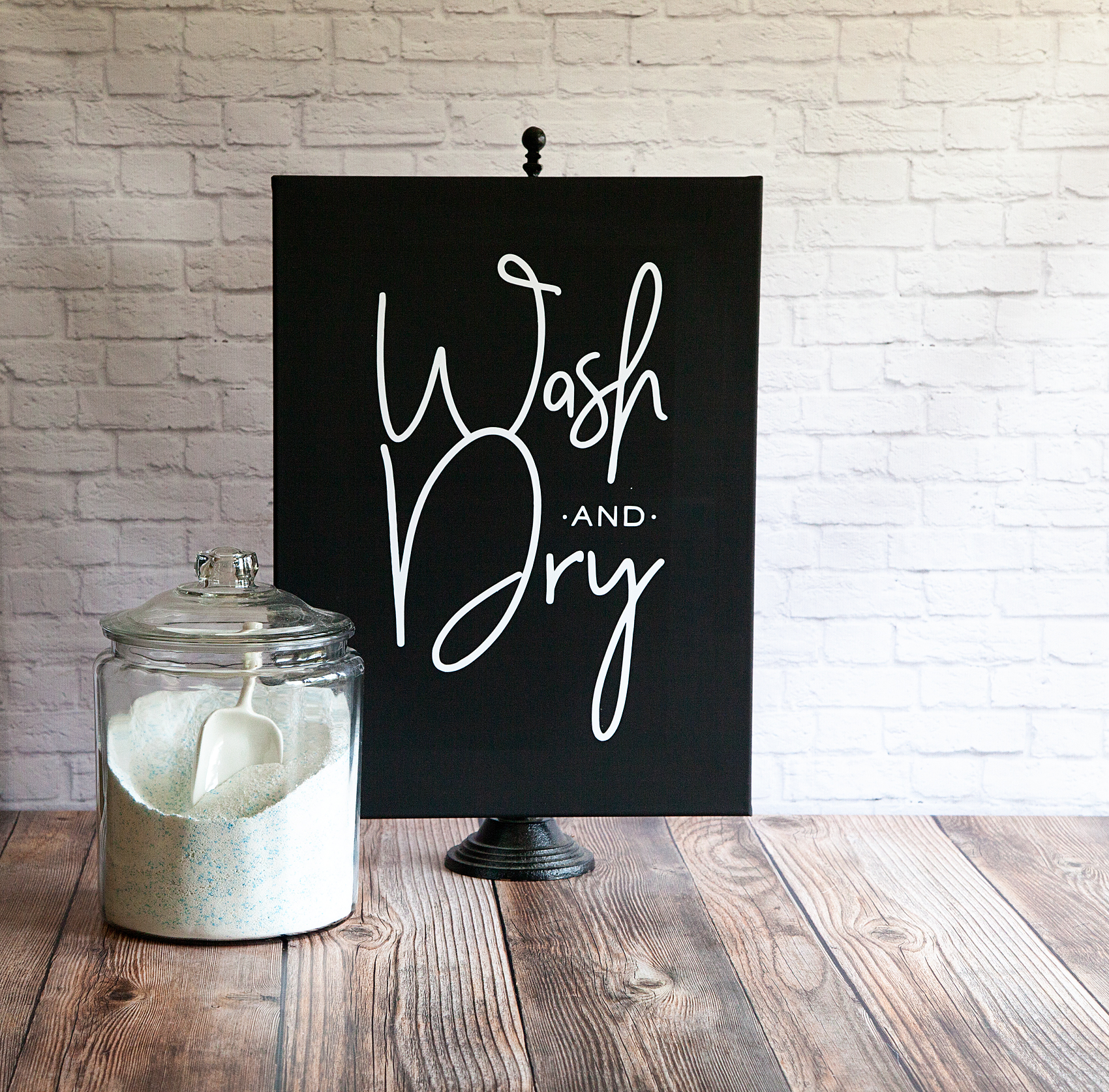 Wash and Dry Sign • Iron-On Vinyl on Black Canvas • Whipperberry
