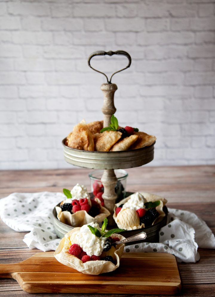 Tortilla Desserts Two Ways • Berry Hand Pies + Baked Tortilla Sundae Bowl