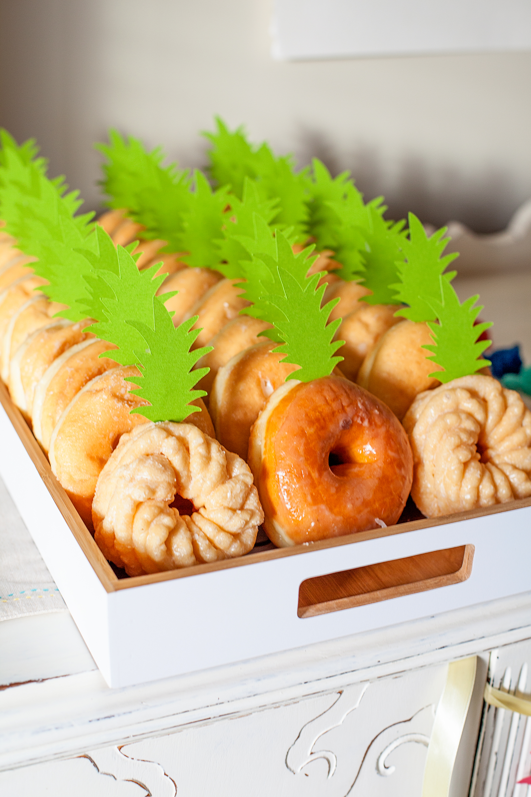 "How CUTE are these ""pineapple"" doughnuts? This Pineapple Party is perfect for all ages. Come on over to WhipperBerry to learn how to recreate this EASY party!"
