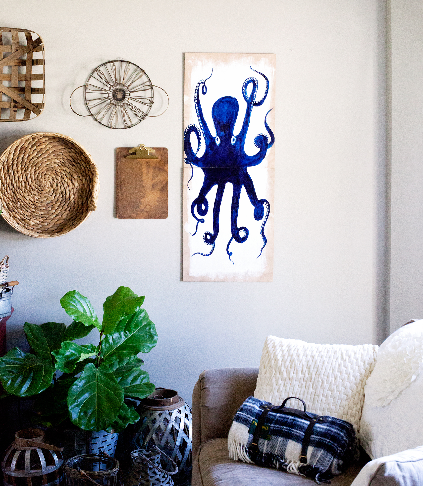 Create A Simple DIY Octopus Wall Art Piece With The NEW DecoArt Americana®  Premium Artist Acrylics Found At Michaels.