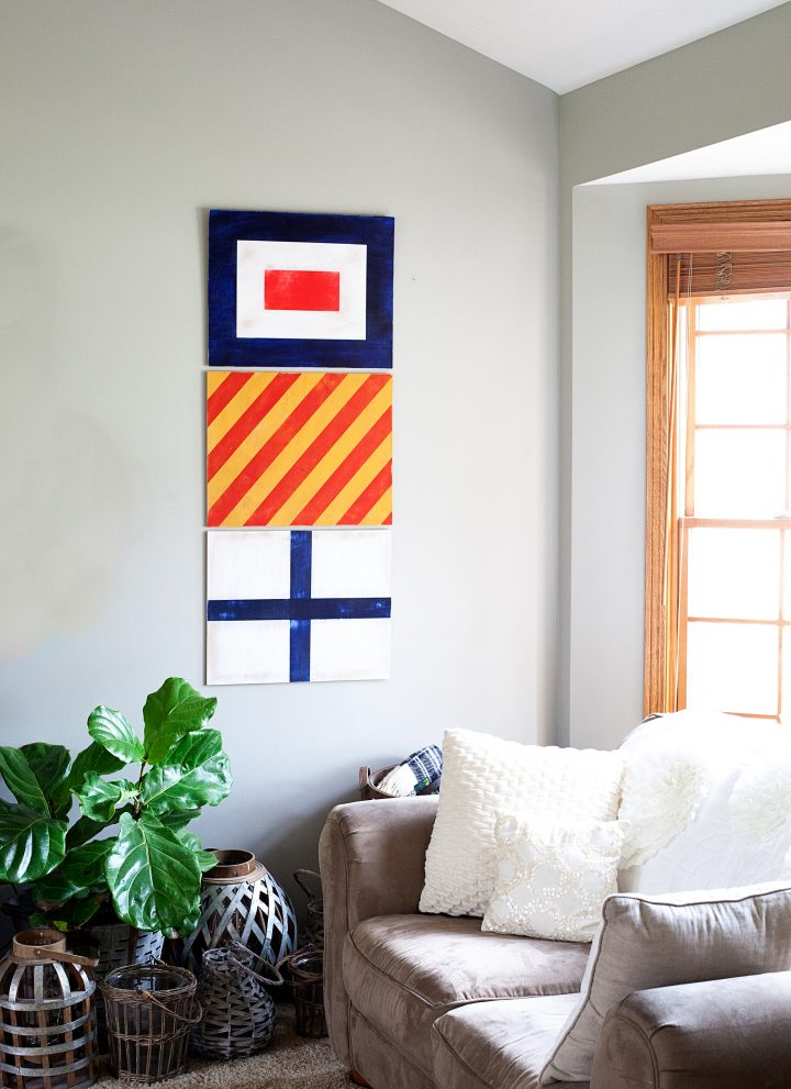 Painted Nautical Signal Flags for Boys Room Decor