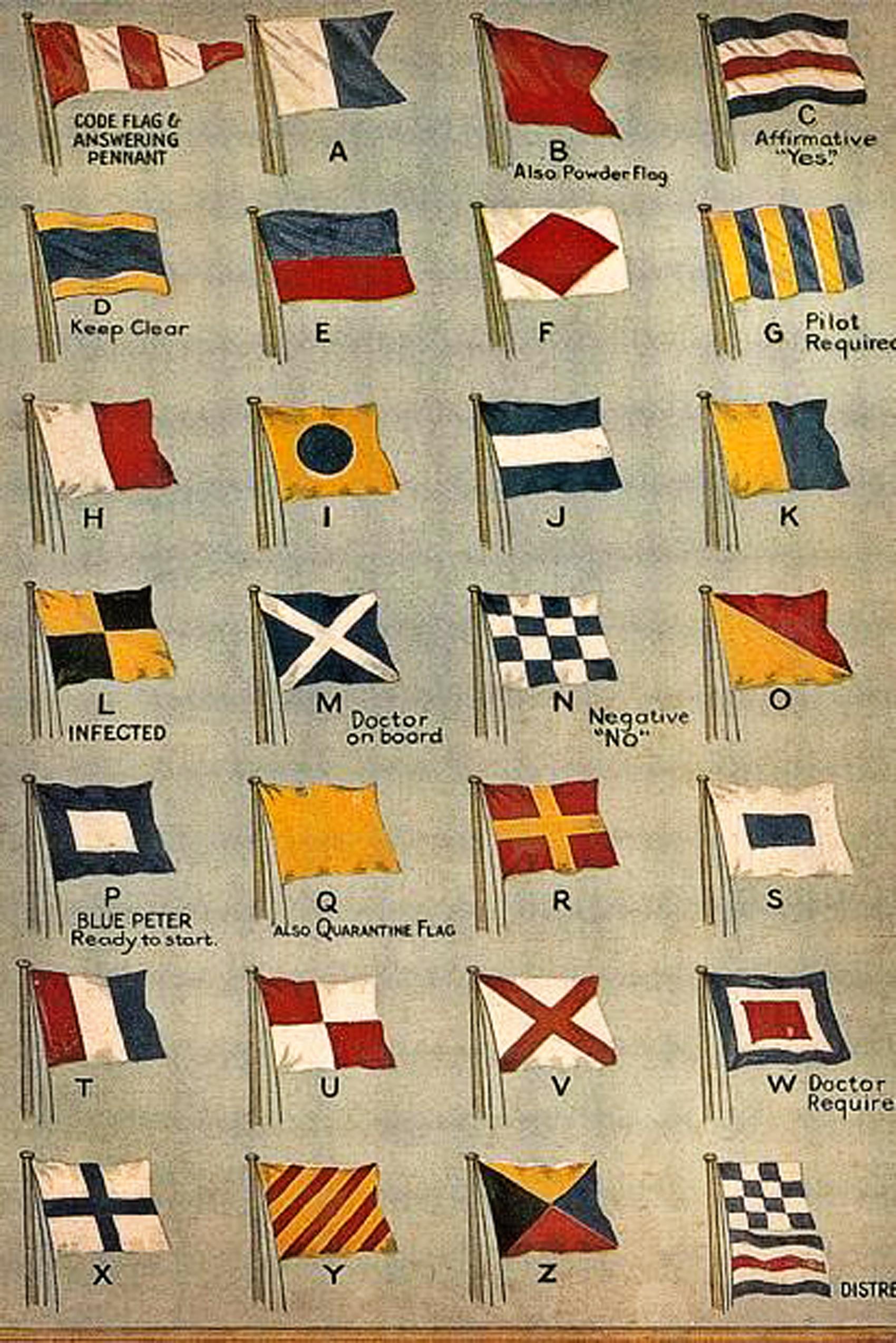 Vintage nautical signal flags