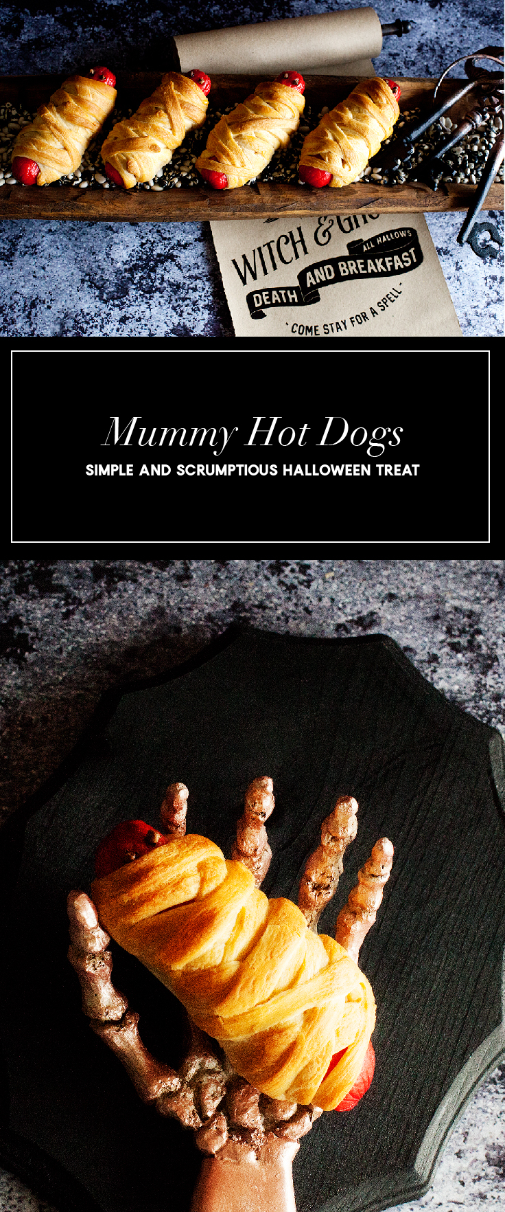There's nothing better than a simple, scrumptious and slightly spooky treat for Halloween! Come learn how easy it is to make these frightfully delicious Mummy Hot Dogs for your little {and BIG} Trick-or-Treaters • WhipperBerry