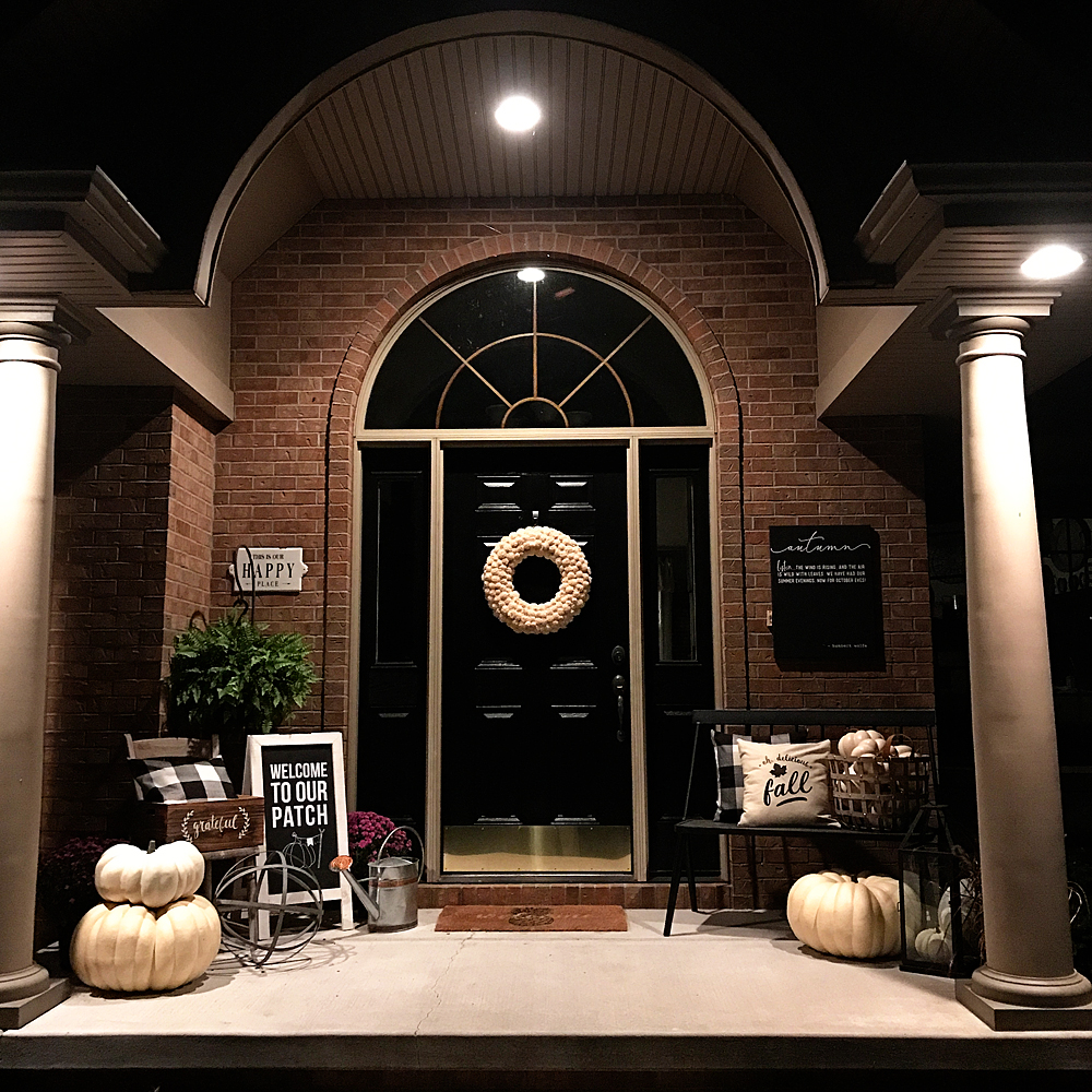 Easily dress-up your front porch for Fall with gorgeous white Autumn pumpkins from Michaels and a few DIY projects created with a little help from Cricut that will turn your drab porch into some the neighbors will truly envy • Created by WhipperBerry