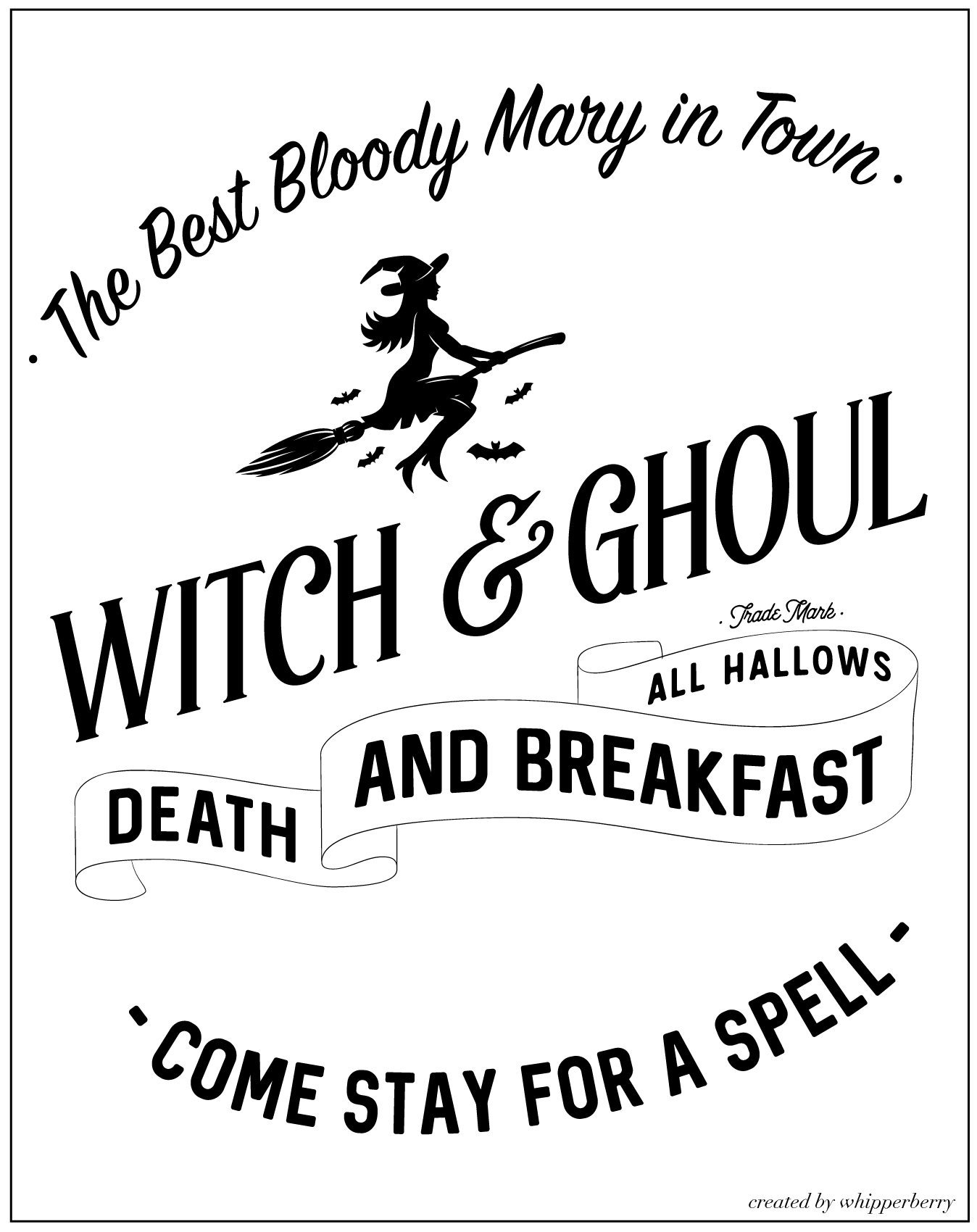 Travel back in time with this fun vintage paper roll sign created by WhipperBerry for Halloween. Witch and Ghoul Death and Breakfast sign available as an SVG file for cutting machines or a printable file for FREE!