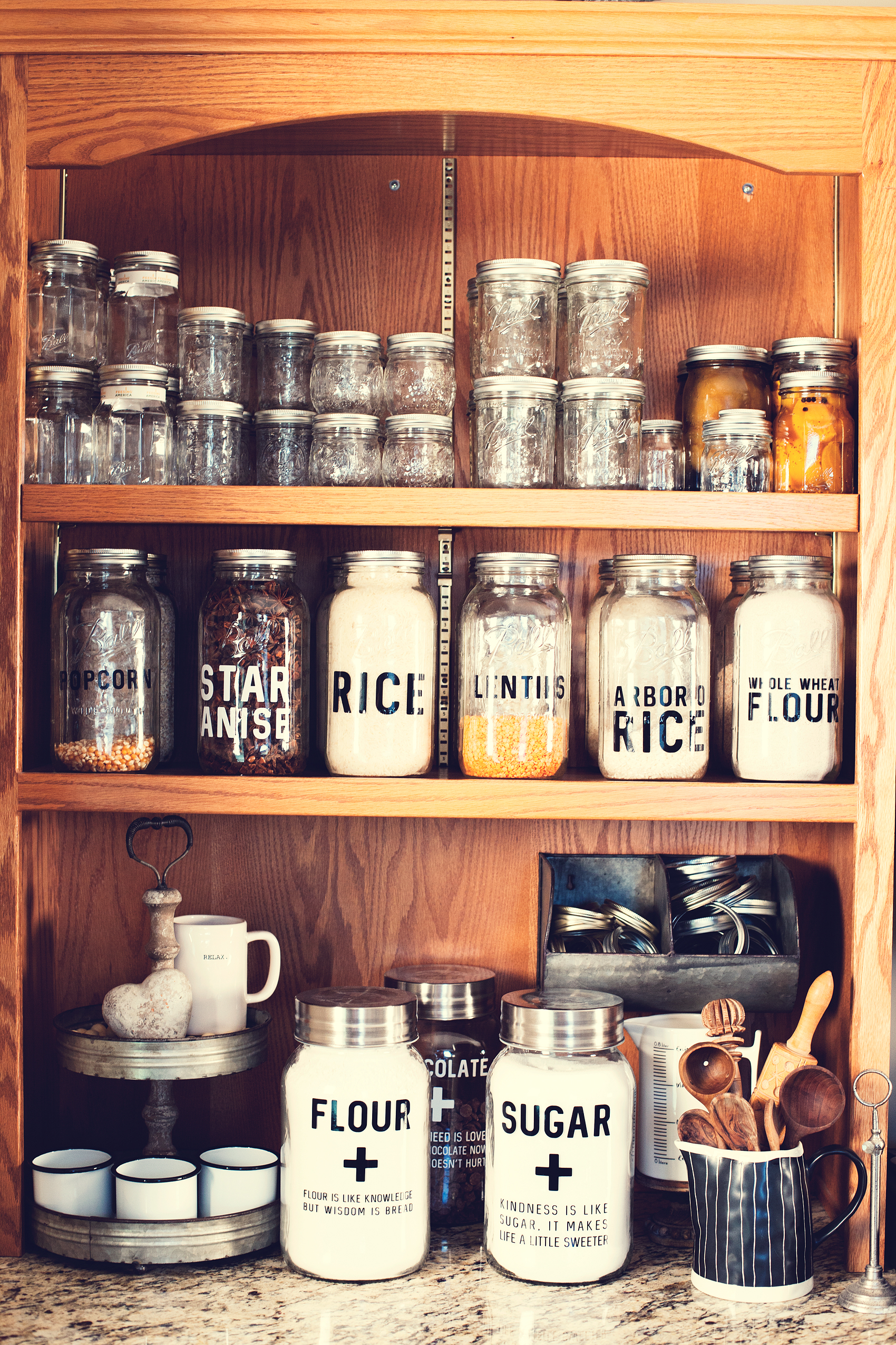 Here's a great way to store your dry goods in your pantry with Ball® Jars from WhipperBerry