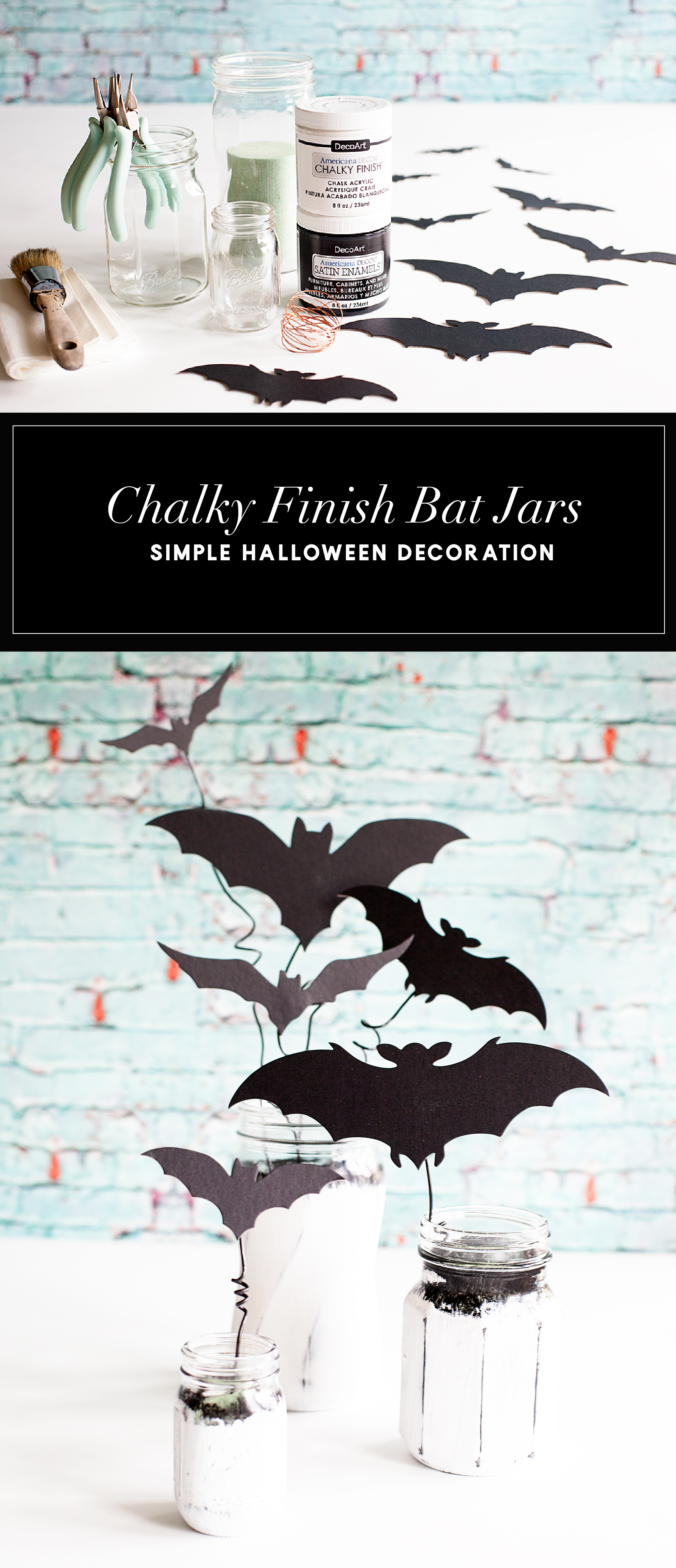 Chalky Finish Bats in a Jar • Have fun creating spooky Halloween decor with these Americana Decor Chalky Finish Ball Jars filled with creepy bats. Decorate your mantle or use them as a table centerpiece. Either way, they will add some stylish fun to your Halloween decoration game.