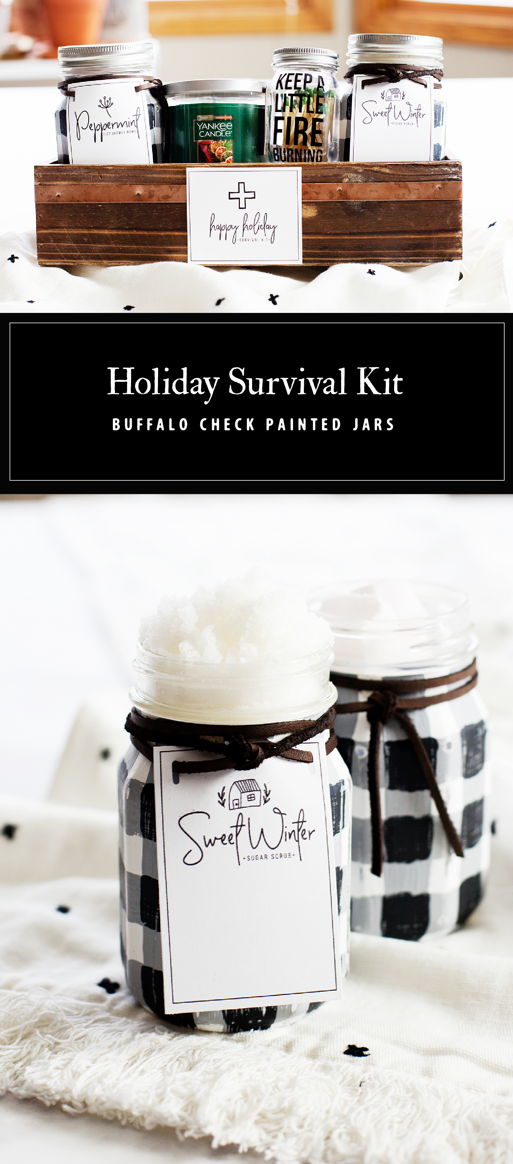 Create this fun and stylish spa inspired Holiday Survival Kit full of spa goodies in Buffalo Check Ball Jars, a Yankee Candle and the cutest little Ball match jar + free printable tags for each item in the kit created by WhipperBerry