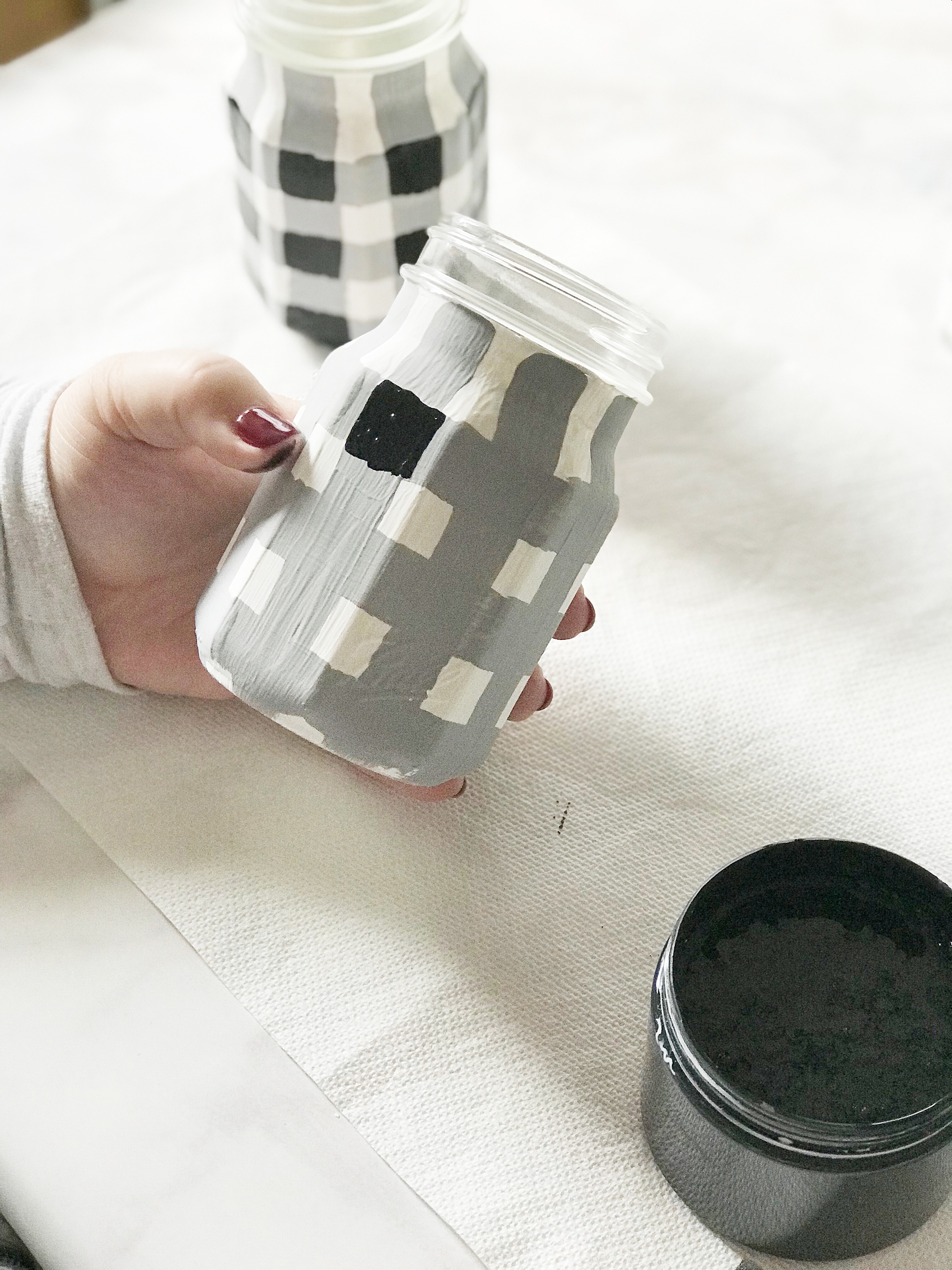 How To Paint Buffalo Check Jars Perfect For Gift Giving
