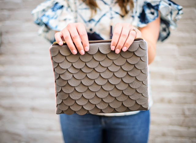 Scallop leather clutch created with Cricut Maker • See Kate Sew