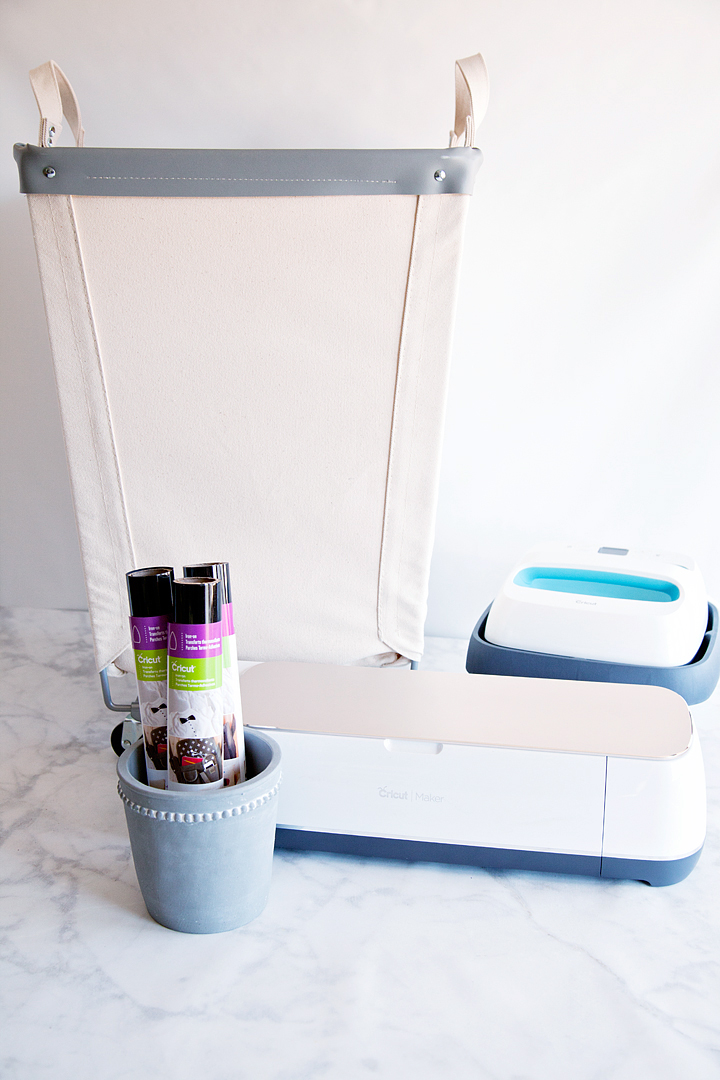 Who wants boring laundry bins? Dress-up your bins with this fabulous design created by WhipperBerry for the Cricut Iron-On Lite. Grab your canvas laundry bins and apply with the Cricut Easy Press to create a little bit of sophistication for your laundry room • WhipperBerry