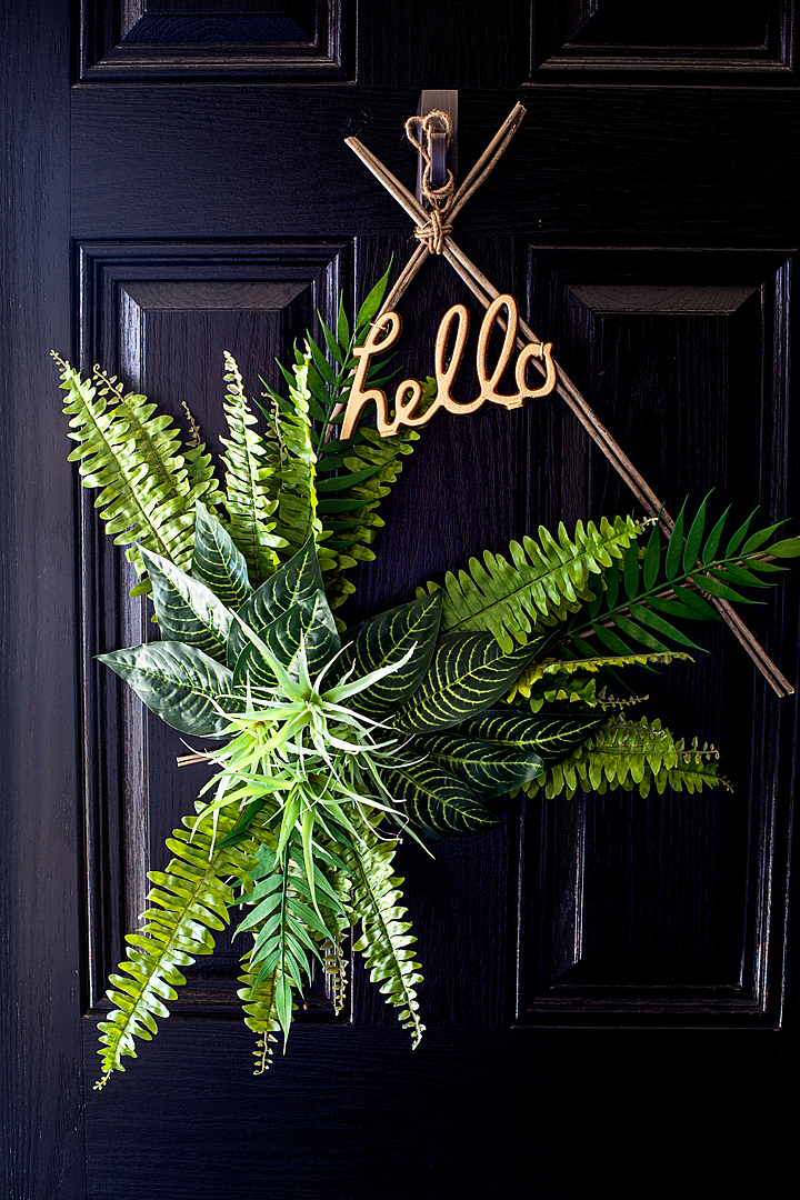 Boho Spring Wreath created with greenery from Michaels and created by WhipperBerry