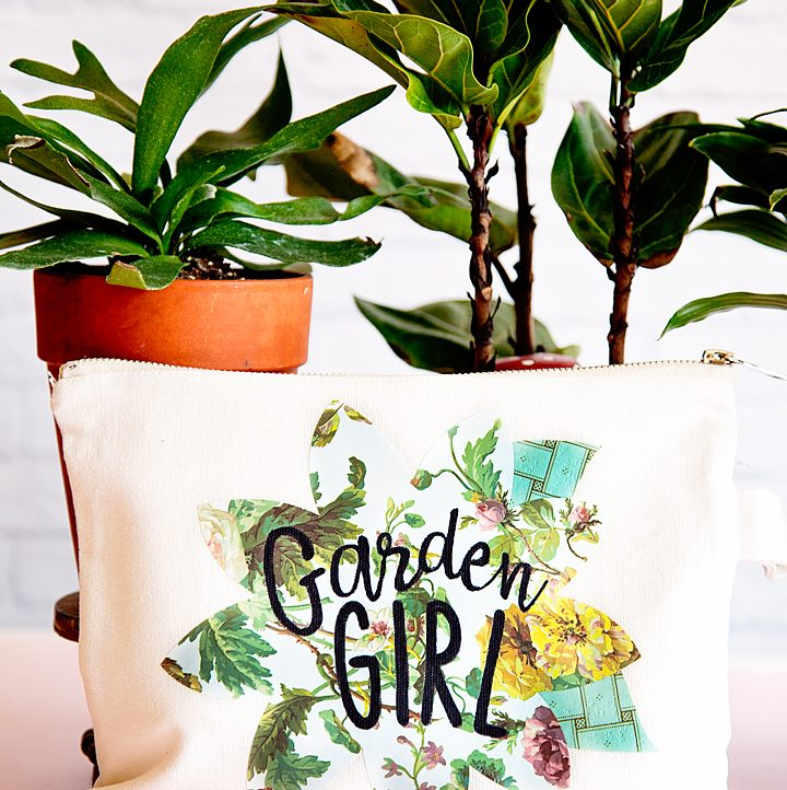My Mom is a true garden girl and I thought it would be fun to create a cute garden girl canvas zipper bag using the new Cricut Patterned Iron-On for Mother's Day. Have you guys seen this? It's the cutest stuff! •created by whipperberry