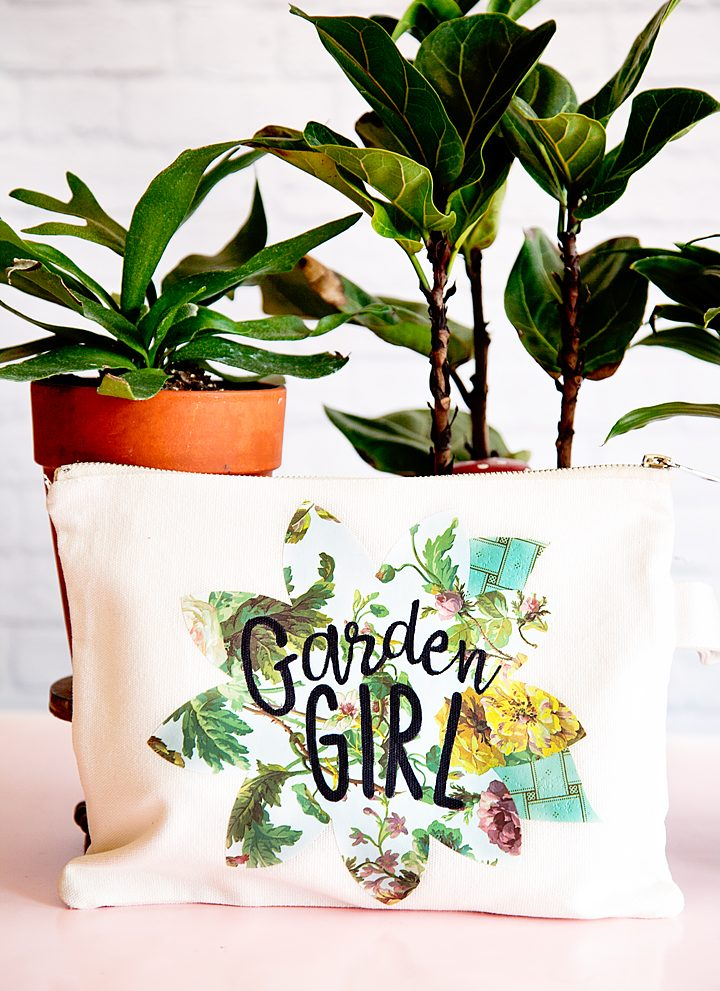My Mom is a true garden girl and I thought it would be fun to create a cute garden girl canvas zipper bag using the new Cricut Patterned Iron-On for Mother's Day. Have you guys seen this? It's the cutest stuff! • created by whipperberry