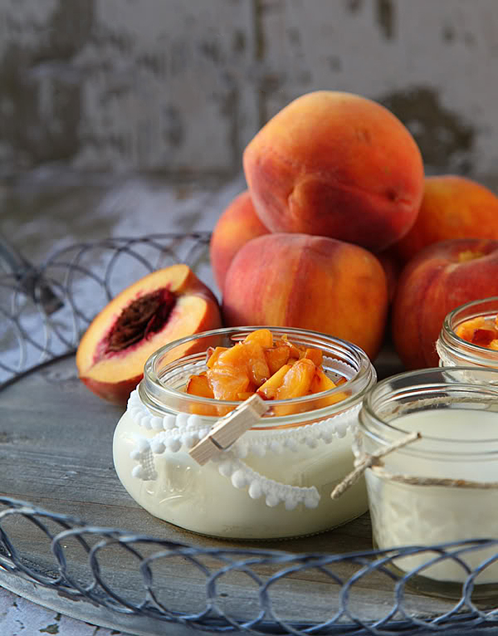 Peaches and Cream Panna Cotta Recipe the perfect summer dessert • WhipperBerry