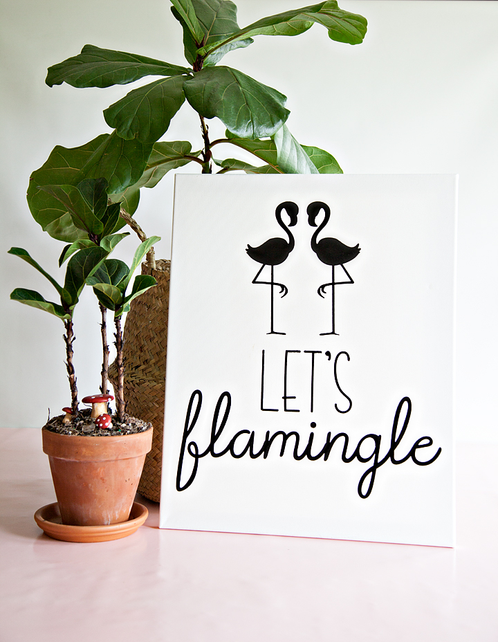 Let's Flamingle Sign - Sign Making 101 from WhipperBerry - This sign is great for a porch sign, party sign or a teen girls bedroom. It's simple, it's cute and really... Who doesn't love a FLAMINGO!
