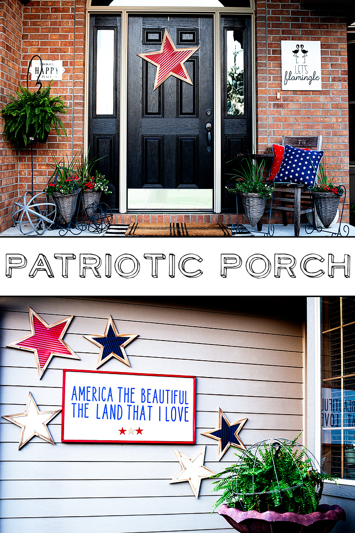 Patriotic front porch design for the 4th of July • Let's Flamingle Sign • Sign Making 101 • WhipperBerry