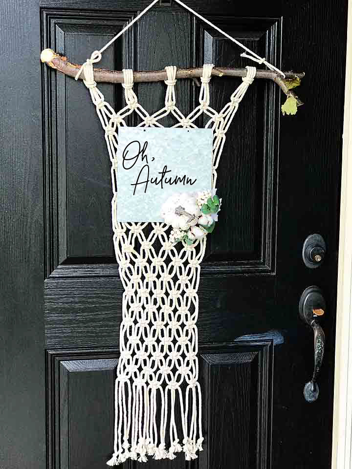 We've kind of fallen in love with the macrame trend at our house lately. We made a HUGE macrame celebration arch for my daughter Haley's wedding a few weeks ago and I then felt inspired to make a macrame Autumn door hanging for my front entry for the impending season change. Oh, Autumn... You truly are my favorite!!
