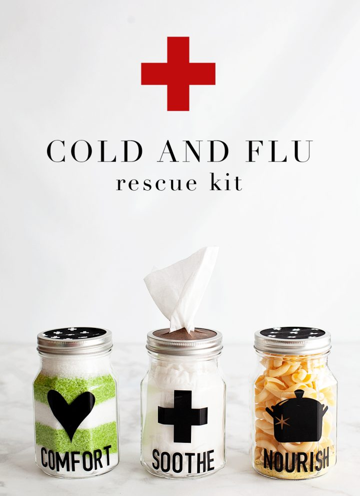As much as we hate to admit it, cold and flu season is on its way. There is nothing more miserable than one of those lousy winter colds. What's almost just as bad is watching someone you care for dealing with a cold or, Heaven forbid, the flu! I'm always looking for ways to help cheer them up and let them know that we love them and hope for their better health. That's when I came up with this idea for a Cold and Flu Rescue Kit to share with those loved ones that are suffering. • WhipperBerry