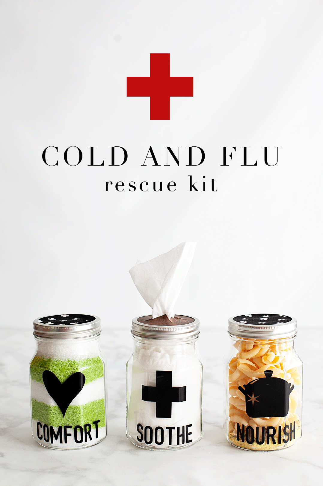 As much as we hate to admit it, cold and flu season is on its way. There is nothing more miserable than one of those lousy winter colds. What's almost just as bad is watching someone you care for dealing with a cold or, Heaven forbid, the flu! I'm always looking for ways to help cheer them up and let them know that we love them and hope for their better health. That's when I came up with this idea for a Cold and Flu Rescue Kit to share with those loved ones that are suffering.• WhipperBerry