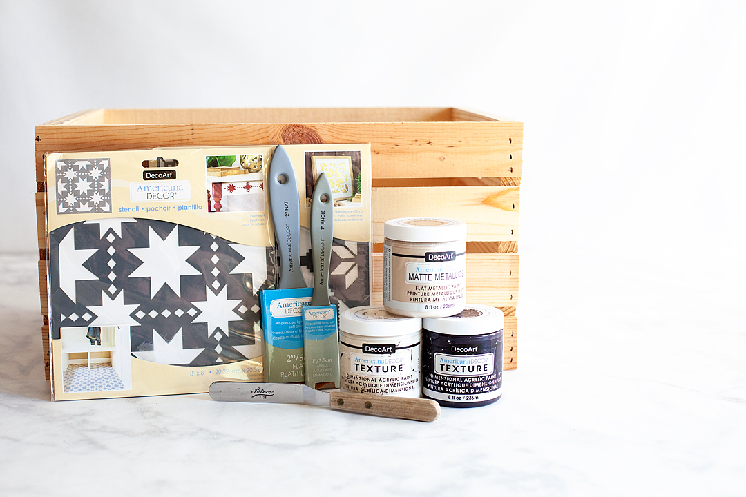 I've always loved Norwegian & Scandinavian design especially when it comes to winter designs and that was my inspiration for my new Scandinavian Style Blanket Storage Box created using Americana Decor Texture & the Americana Decor Stencils from DecoArt.