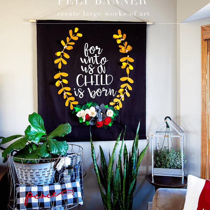 Boy-oh-Boy... I LOVE large scale projects! Sometimes bigger really is better in my book. There are times when you really need to make a statement and a large scale felt banner or large drop cloth sign created to wow your guests or to really make a room POP! I wanted to create a large felt sign for the Christmas season to add to my living room and to also use for a Christmas party that I'm planning this year. Let me show you what I made and how YOU can make one yourself! - WhipperBerry #feltsign #largescalesign #christmassign #christmasdecor #christmasdecoration